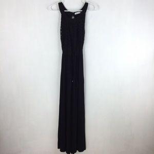 Calvin Klein Maxi Dress Solid Black Lace Top